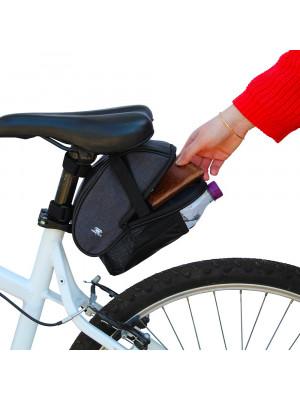 sacoche de selle vélo avec compartiment et emplacement gourde