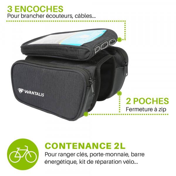 pochette smartphone pour vélo double compartiment